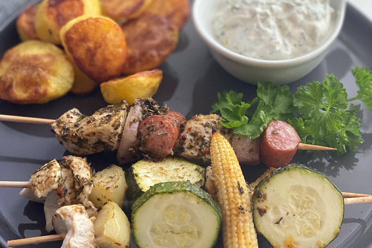 Spieße mit Ofenkartoffel