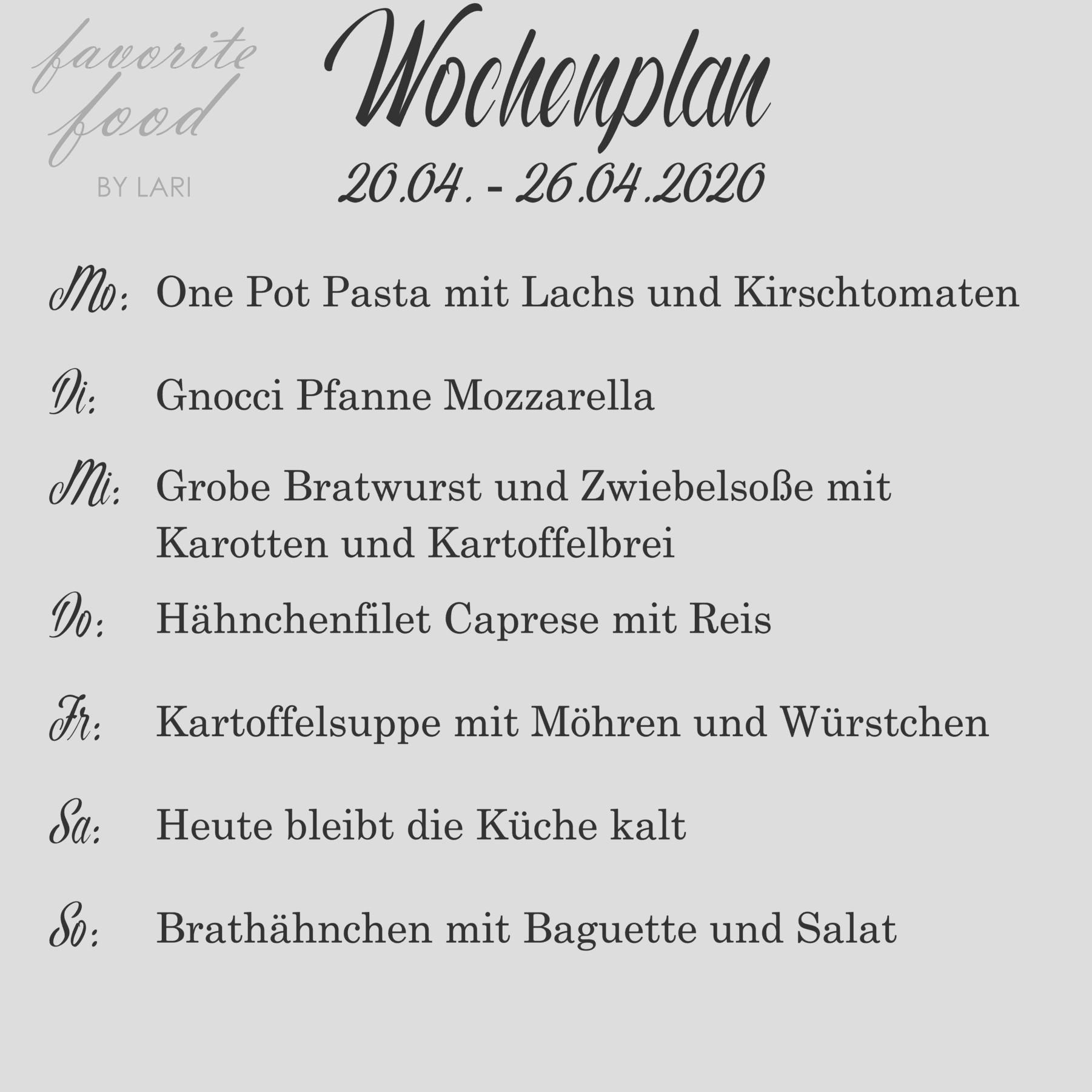 Wochenplan 20.04. – 26.04.2020