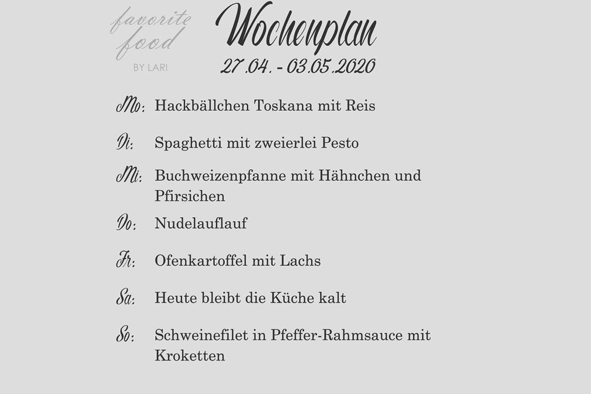 Wochenplan 27.04. – 03.05.2020