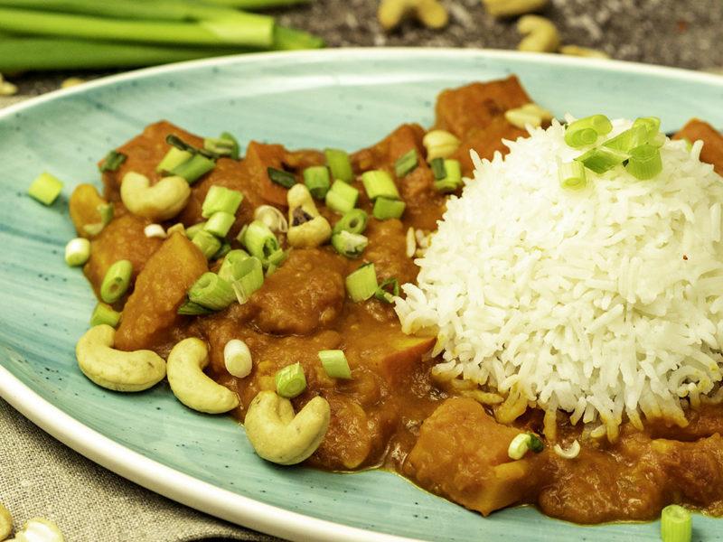 Kürbis Curry mit Reis